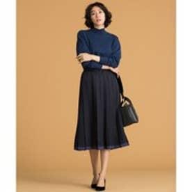 自由区 【洗える】COLOR SCHEME PLEAT スカート (ネイビー系)