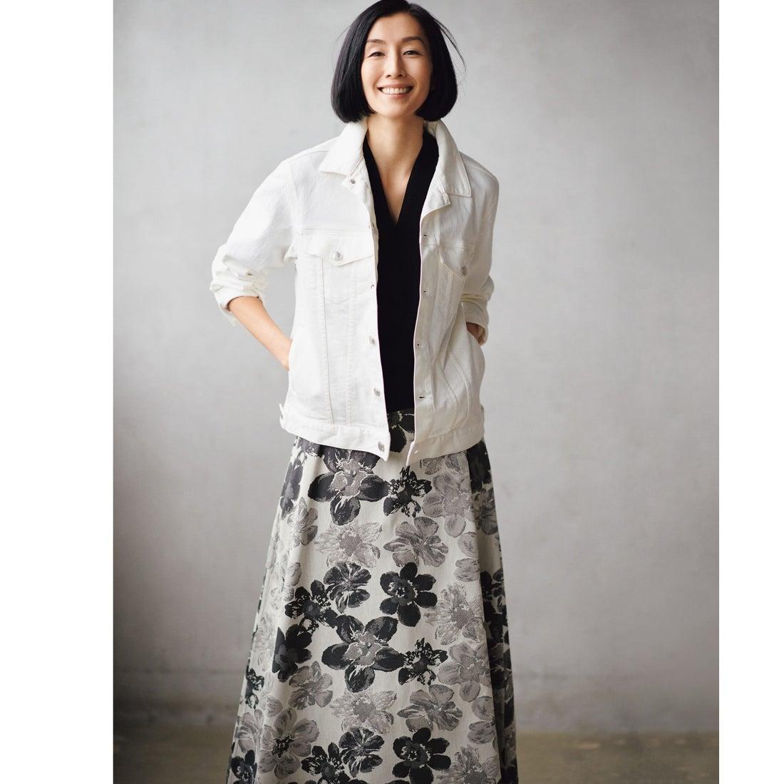 自由区 【マガジン掲載】SAKURA ジャカード リバーシブルスカート(検索番号E42) (グレー系6)