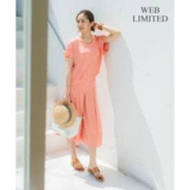 自由区 L 【WEB限定カラー有・洗える】クレールサテン ワイドパンツ (ピンク系)
