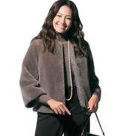 自由区(大きいサイズ) 【亜希さん着用】ウールムートン ショートジャケット(検索番号S34) (ブラウン)