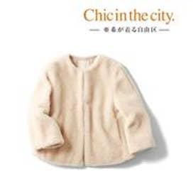 自由区(大きいサイズ) 【亜希さん着用】ウールムートン ショートジャケット(検索番号S34) (ベージュ)