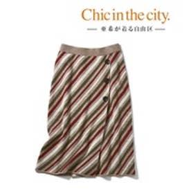 自由区(大きいサイズ) 【亜希さん着用】レジメンタルストライプニットスカート(検索番号S59) (ブラウン系)