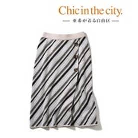 自由区(大きいサイズ) 【亜希さん着用】レジメンタルストライプニットスカート(検索番号S59) (ベージュ系)