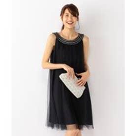 組曲 【結婚式やパーティに】チュールスモッキング ドレス (ブラック系)
