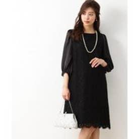 組曲 【結婚式やパーティに】スカラフラワーレース ドレス (ブラック系)