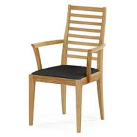 IDC OTSUKA/大塚家具 椅子(アーム) N005 #PVC/WOナラ ブラック (ホワイトオーク)