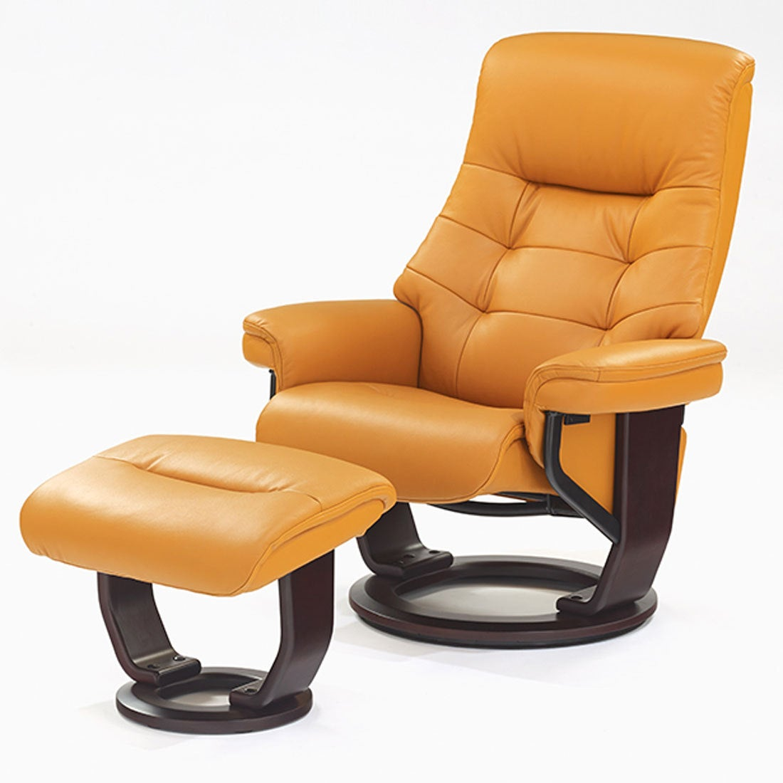 IDC OTSUKA/大塚家具 リクライニングチェア マルコーニ2 半革オレンジ オットマン付 (オレンジ)