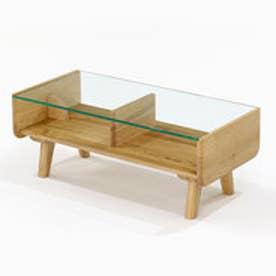IDC OTSUKA/大塚家具 センターテーブル リーフ3 ガラストップ 木部WO (ホワイトオーク)【返品不可商品】