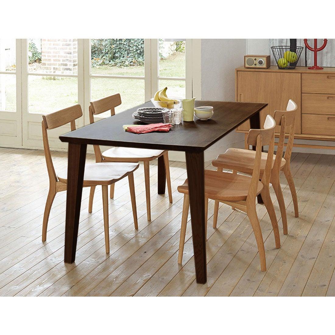 IDC OTSUKA/大塚家具 ダイニングテーブル フィル3 角天板/木製脚 W1600/オーク材DB色(ダークブラウン)