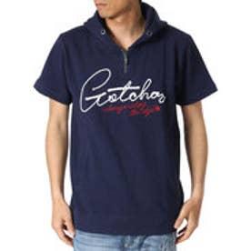 ガッチャ Gotcha フロントZIPナワ刺繍半袖プルパーカー (ネ-ビ-)
