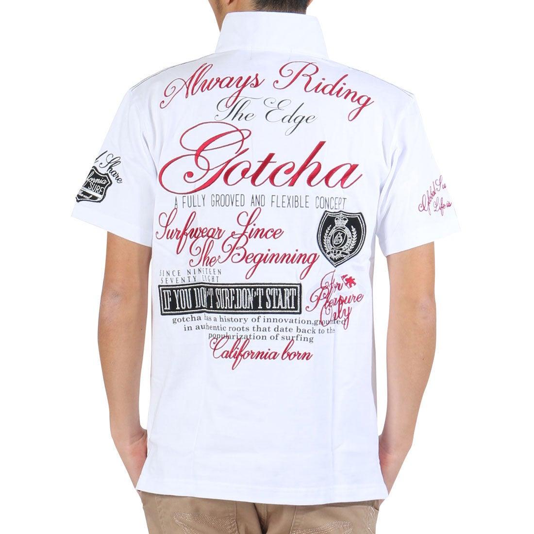 ガッチャゴルフ Gotcha Golf ワッペン使い半袖ラガーシャツ (シロ) メンズ