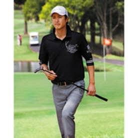 カールカナイゴルフ Karl Kani Golf 6分袖フェイクレイヤードポリ鹿の子ポロ (クロ)