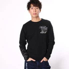 エムシーディー More Core Division スラブ天竺フェザーラメ刺繍クルーロンT (クロ)