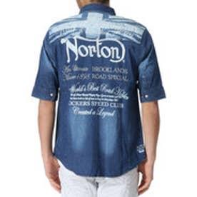 ノートン Norton ユニオンジャク抜染5分袖ストレッチデニムシャツ (インディゴ)
