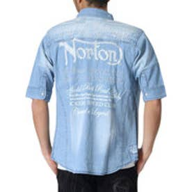 ノートン Norton ユニオンジャク抜染5分袖ストレッチデニムシャツ (ブリ-チ)