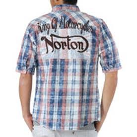ノートン Norton ユニオンジャク叩きつけ5分袖シャツ (シロ)