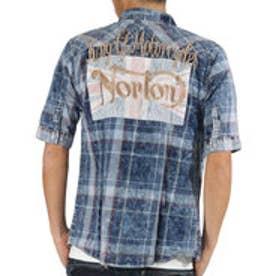 ノートン Norton ユニオンジャク叩きつけ5分袖シャツ (ネ-ビ-)