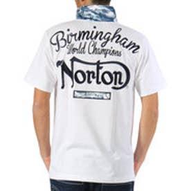 ノートン Norton 吸水速乾カモ使い3釦ポロ (シロ)