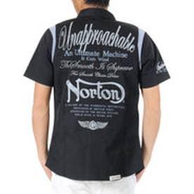 ノートン Norton 袖リブ切替半袖ストレッチシャツ (クロ)