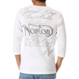 ノートン Norton ワッフルラメ1トーン7分袖V-T (シロ)