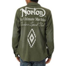 ノートン Norton ナバホ柄カットツイルシャツ (カ-キ)