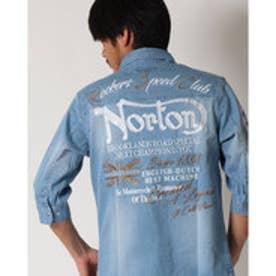 ノートン Norton 6分袖ストレッチデニムシャツ (ブリ-チ)