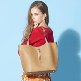 フィラノ FIRANO 【ミセス掲載】スクエアチャーム付ビッグトートバッグ(Bag in Bag付) (BEIGE)