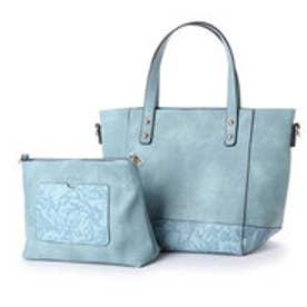 フィラノ FIRANO クラシカルフラワー型押バッグ(Bag in Bag付) (BLUE)