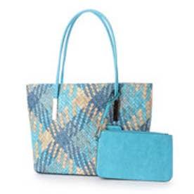 フィラノ FIRANO 配色編み込みトートバッグ (BLUE)