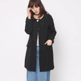 ルーミィーズ  Roomy's OUTLET ノーカラースプリングコート (ブラック)