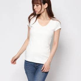 ロイヤルパーティー ROYAL PARTYproduced by Roomy's OUTLET定番V開き前2重半袖Tシャツ (オフホワイト)