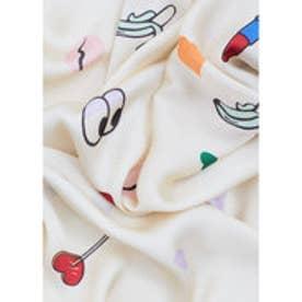 マンゴ MANGO Printed satin scarf (light beige)