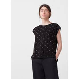 マンゴ MANGO Printed cotton t-shirt (black)