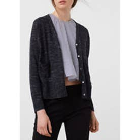 MANGO Flecked fine-knit cardigan (dark grey)
