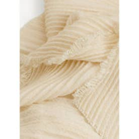 MANGO Striped textured scarf (natural white)