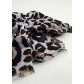 マンゴ MANGO Leopard print scarf (black)