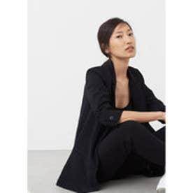 マンゴ MANGO Ruched sleeves blazer (black)