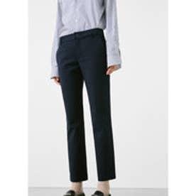 MANGO Cotton crop trousers (navy)