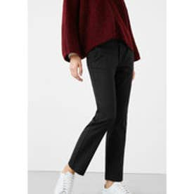 MANGO Cotton crop trousers (black)