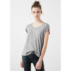 MANGO Cotton t-shirt (medium grey)