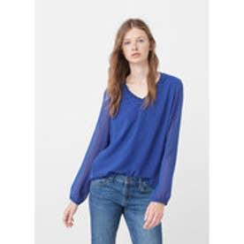 マンゴ MANGO Double-layer blouse (lt-pastel blue)