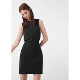 マンゴ MANGO Contrasting dress (black)