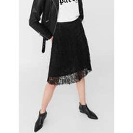 レースプリーツスカート MIDILACE (ブラック)