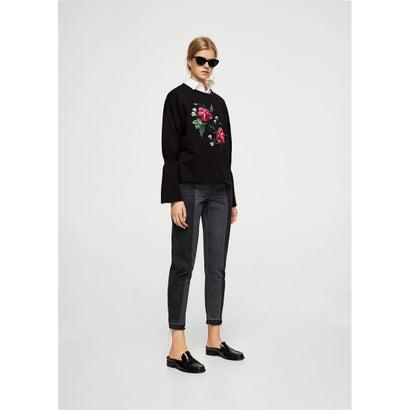 スウェットシャツ .-- FLOWERS (ブラック)