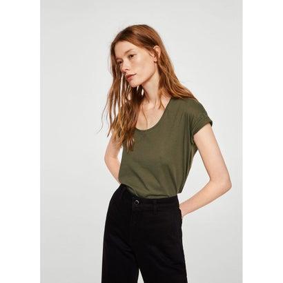Tシャツ .-- CHALA (ベージュ-カーキ)