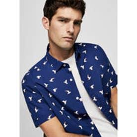 スリムフィットシャツ .-- GAVI-H (ネイビーブルー)