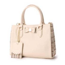 リズリサ LIZ LISA ティアラ チェックツウィード素材使いリボン2WAYミニトートバッグ (ホワイト)