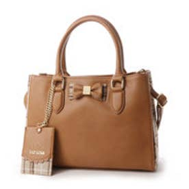 リズリサ LIZ LISA ティアラ チェックツウィード素材使いリボン2WAYミニトートバッグ (ブラウン)