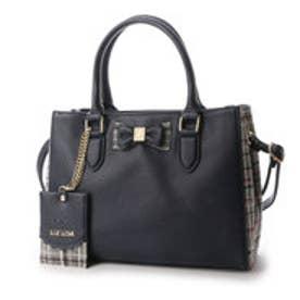 リズリサ LIZ LISA ティアラ チェックツウィード素材使いリボン2WAYミニトートバッグ (ネイビー)