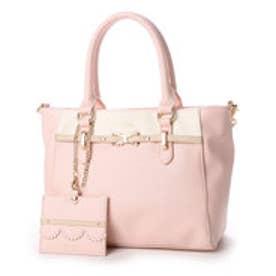 リズリサ LIZ LISA ティー お花リボンブローチ付バイカラー2WAYミニトートバッグ (ピンク)